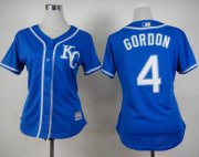 Wholesale Cheap Royals #4 Alex Gordon Blue Alternate 2 Women's Stitched MLB Jersey
