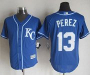 Wholesale Cheap Royals #13 Salvador Perez Blue Alternate 2 New Cool Base Stitched MLB Jersey