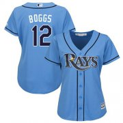 Wholesale Cheap Rays #12 Wade Boggs Light Blue Alternate Women's Stitched MLB Jersey