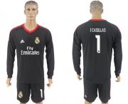 Wholesale Cheap Real Madrid #1 I.Casillas Black Goalkeeper Long Sleeves Soccer Club Jersey