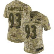 Wholesale Cheap Nike Ravens #93 Calais Campbell Camo Women's Stitched NFL Limited 2018 Salute To Service Jersey