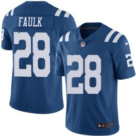 Wholesale Cheap Nike Colts #28 Marshall Faulk Royal Blue Youth Stitched NFL Limited Rush Jersey
