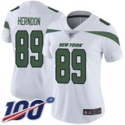 Wholesale Cheap Nike Jets #89 Chris Herndon White Women's Stitched NFL 100th Season Vapor Limited Jersey