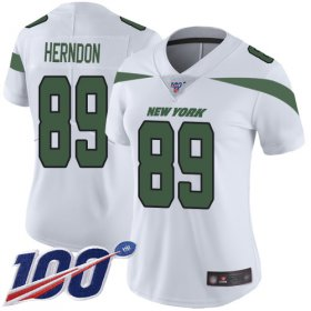 Wholesale Cheap Nike Jets #89 Chris Herndon White Women\'s Stitched NFL 100th Season Vapor Limited Jersey