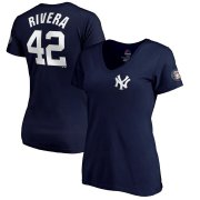 Wholesale Cheap New York Yankees #42 Mariano Rivera Majestic Women's 2019 Hall of Fame Name & Number V-Neck T-Shirt Navy