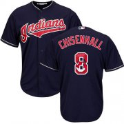 Wholesale Cheap Indians #8 Lonnie Chisenhall Navy Blue Team Logo Fashion Stitched MLB Jersey