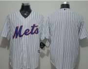 Wholesale Cheap Mets Blank White(Blue Strip) New Cool Base Stitched MLB Jersey