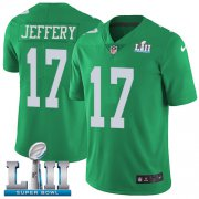 Wholesale Cheap Nike Eagles #17 Alshon Jeffery Green Super Bowl LII Youth Stitched NFL Limited Rush Jersey