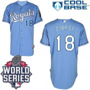 Wholesale Cheap Royals #18 Ben Zobrist Light Blue Alternate 1 Cool Base W/2015 World Series Patch Stitched MLB Jersey