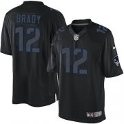 Wholesale Cheap Nike Patriots #12 Tom Brady Black Men's Stitched NFL Impact Limited Jersey