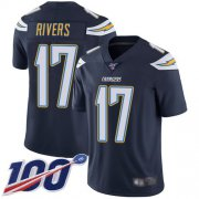 Wholesale Cheap Nike Chargers #17 Philip Rivers Navy Blue Team Color Men's Stitched NFL 100th Season Vapor Limited Jersey
