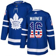 Wholesale Cheap Adidas Maple Leafs #16 Mitchell Marner Blue Home Authentic USA Flag Stitched NHL Jersey