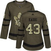 Wholesale Cheap Adidas Maple Leafs #43 Nazem Kadri Green Salute to Service Women's Stitched NHL Jersey