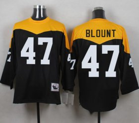 Wholesale Cheap Mitchell And Ness 1967 Steelers #47 Mel Blount Black/Yelllow Throwback Men\'s Stitched NFL Jersey