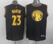 Wholesale Cheap Minnesota Timberwolves #23 Kevin Martin Revolution 30 Swingman 2014 Black With Gold Jersey