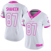 Wholesale Cheap Nike Bears #87 Adam Shaheen White/Pink Women's Stitched NFL Limited Rush Fashion Jersey
