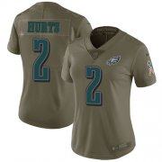 Wholesale Cheap Nike Eagles #2 Jalen Hurts Olive Women's Stitched NFL Limited 2017 Salute To Service Jersey