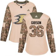 Wholesale Cheap Adidas Ducks #36 John Gibson Camo Authentic 2017 Veterans Day Women's Stitched NHL Jersey