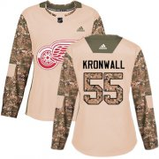 Wholesale Cheap Adidas Red Wings #55 Niklas Kronwall Camo Authentic 2017 Veterans Day Women's Stitched NHL Jersey