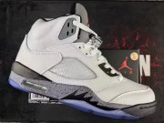 Wholesale Cheap Air Jordan 5 GS Shoes White/Black-Cement Gray
