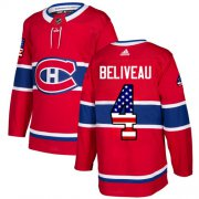 Wholesale Cheap Adidas Canadiens #4 Jean Beliveau Red Home Authentic USA Flag Stitched NHL Jersey