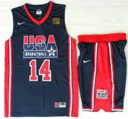 Wholesale Cheap USA Basketball 1992 Olympic Dream Team #14 Charles Barkley Blue Jerseys & Shorts