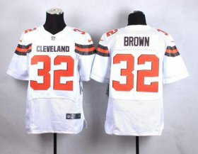 Wholesale Cheap Nike Browns #32 Jim Brown White Men\'s Stitched NFL New Elite Jersey