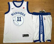 Wholesale Cheap Men's Golden State Warriors #11 Klay Thompson White 2017-2018 Hardwood Classics Nike Rakuten Stitched Throwback NBA Jersey With Shorts