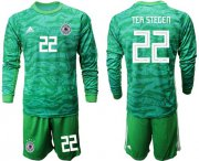 Wholesale Cheap Germany #22 Ter Stegen Green Goalkeeper Long Sleeves Soccer Country Jersey