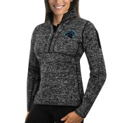 Wholesale Cheap Carolina Panthers Antigua Women's Fortune Half-Zip Sweater Heather Black