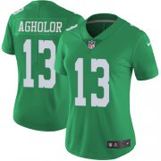 Wholesale Cheap Nike Eagles #13 Nelson Agholor Green Women's Stitched NFL Limited Rush Jersey