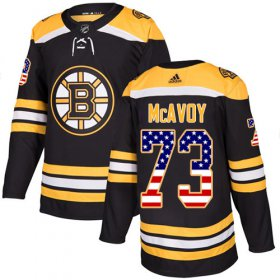 Wholesale Cheap Adidas Bruins #73 Charlie McAvoy Black Home Authentic USA Flag Stitched NHL Jersey