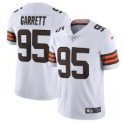Wholesale Cheap Cleveland Browns #95 Myles Garrett Men's Nike White 2020 Vapor Limited Jersey