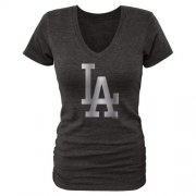 Wholesale Cheap Women's Los Angeles Dodgers Fanatics Apparel Platinum Collection V-Neck Tri-Blend T-Shirt Black
