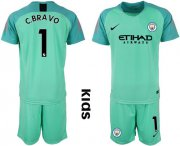 Wholesale Cheap Manchester City #1 C.Bravo Green Goalkeeper Kid Soccer Club Jersey