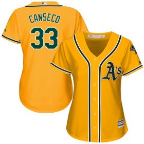 Wholesale Cheap Athletics #33 Jose Canseco Gold Alternate Women\'s Stitched MLB Jersey