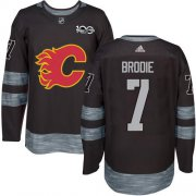 Wholesale Cheap Adidas Flames #7 TJ Brodie Black 1917-2017 100th Anniversary Stitched NHL Jersey