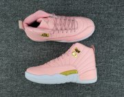 Wholesale Cheap Womens Air Jordan 12 Retro Shoes Pink/White-Gold