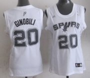 Wholesale Cheap San Antonio Spurs #20 Manu Ginobili White Womens Jersey