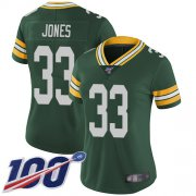 Wholesale Cheap Nike Packers #33 Aaron Jones Green Team Color Women's Stitched NFL 100th Season Vapor Limited Jersey