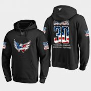 Wholesale Cheap Capitals #30 Ilya Samsonov NHL Banner Wave Usa Flag Black Hoodie