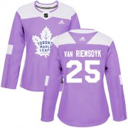 Wholesale Cheap Adidas Maple Leafs #25 James Van Riemsdyk Purple Authentic Fights Cancer Women's Stitched NHL Jersey