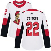 Wholesale Cheap Adidas Senators #22 Nikita Zaitsev White Road Authentic Women's Stitched NHL Jersey