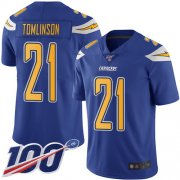 Wholesale Cheap Nike Chargers #21 LaDainian Tomlinson Electric Blue Men's Stitched NFL Limited Rush 100th Season Jersey