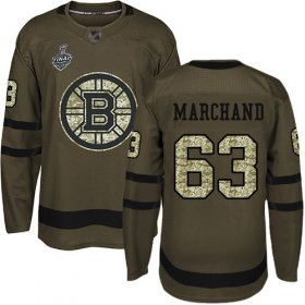 Wholesale Cheap Adidas Bruins #63 Brad Marchand Green Salute to Service Stanley Cup Final Bound Stitched NHL Jersey