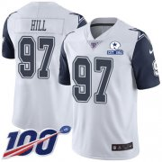 Wholesale Cheap Nike Cowboys #97 Trysten Hill White Men's Stitched With Established In 1960 Patch NFL Limited Rush 100th Season Jersey