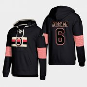 Wholesale Cheap Ottawa Senators #6 Chris Wideman Black adidas Lace-Up Pullover Hoodie