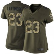 Wholesale Cheap Nike Saints #23 Marshon Lattimore Green Women's Stitched NFL Limited 2015 Salute to Service Jersey