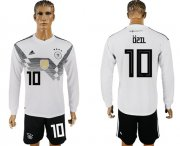Wholesale Cheap Germany #10 Ozil White Home Long Sleeves Soccer Country Jersey