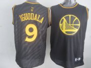 Wholesale Cheap Golden State Warriors #9 Andre Iguodala Revolution 30 Swingman 2014 Black With Gold Jersey